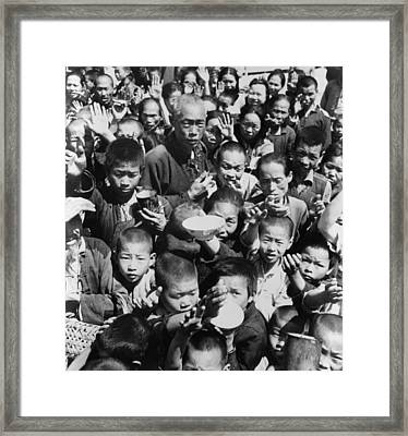 Group Of Children And Adults Begging Framed Print by Everett