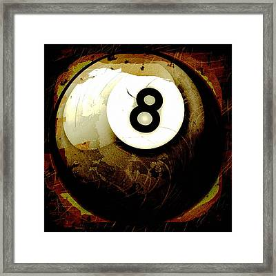Grunge Style 8 Ball Framed Print by David G Paul
