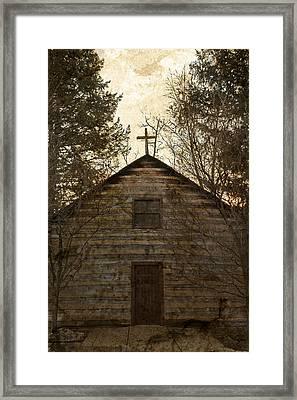 Grungy Hand Hewn Log Chapel Framed Print by John Stephens