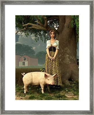 Guard Pig Framed Print by Daniel Eskridge