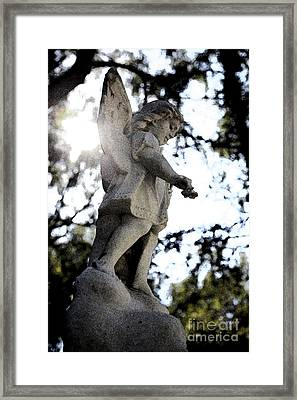 Guardian Angel With Light From Above Framed Print by Nina Prommer