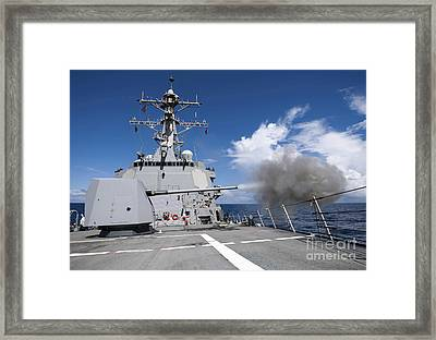 Guided-missile Destroyer Uss Pinckney Framed Print by Stocktrek Images