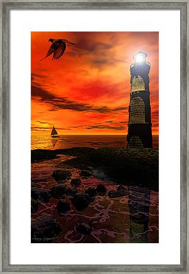 Guiding Light - Lighthouse Art Framed Print by Lourry Legarde