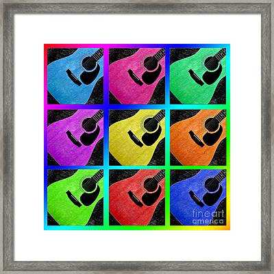 Guitar Tic Tac Toe Rainbow Framed Print by Andee Design