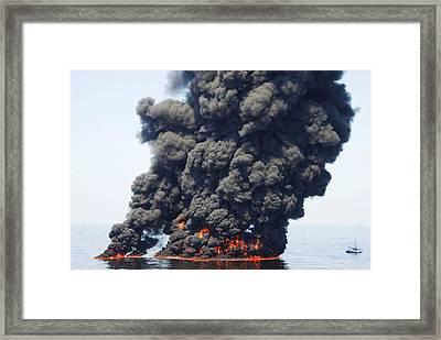 Gulf Of Mexico Oil Spill Burn-off, 2010 Framed Print by U.s. Coast Guard