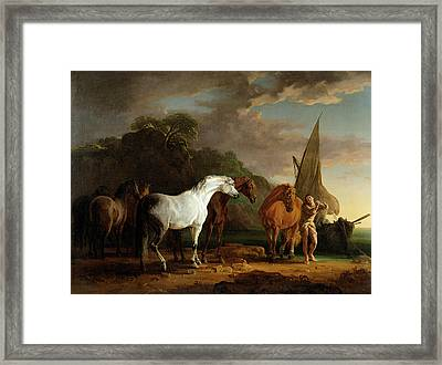 Gulliver Taking His Final Leave Of The Land Of The Houyhnhnms Framed Print by Sawrey Gilpin