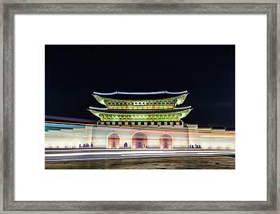 Gyeongbokgung Palace At Night Framed Print by I enjoy taking photos and traveling the world.