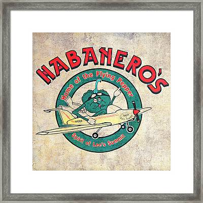 Habaneros Home Of The Flying Pepper Sign 3 Framed Print by Andee Design