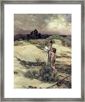 Hagar And Ishmael Framed Print by Jean-Charles Cazin