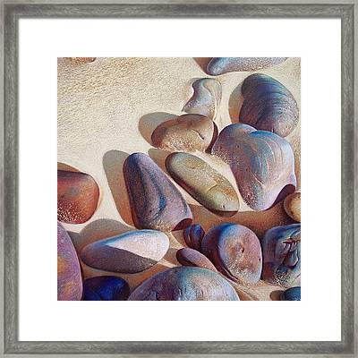 Hallett Cove's Stones - Detail Framed Print by Elena Kolotusha