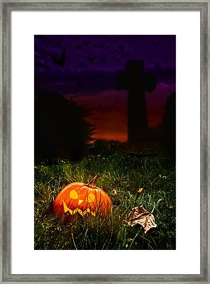 Halloween Cemetery Framed Print by Amanda Elwell