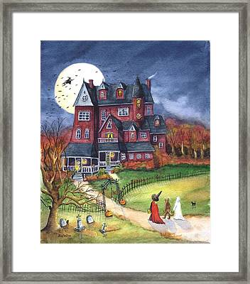 Halloween Haunted Mansion Framed Print by Iva Wilcox