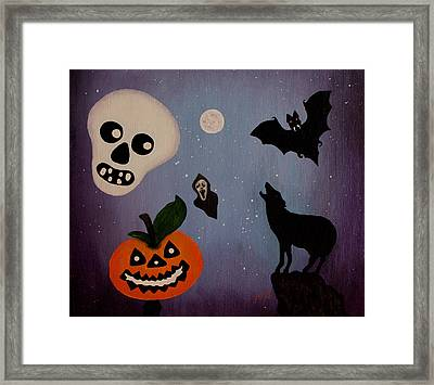 Halloween Night Original Acrylic Painting Placemat Framed Print by Georgeta  Blanaru