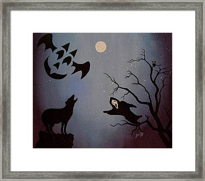Halloween Night Party Original Painting Placemat Doormat Framed Print by Georgeta  Blanaru