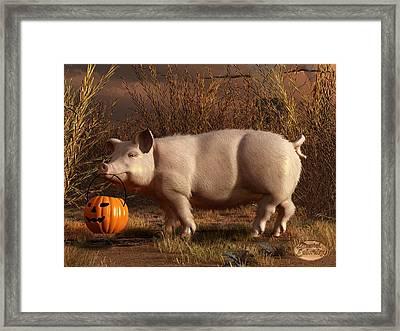 Halloween Pig Framed Print by Daniel Eskridge
