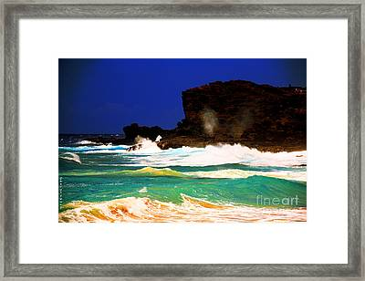 Halona Blowhole Framed Print by Cheryl Young