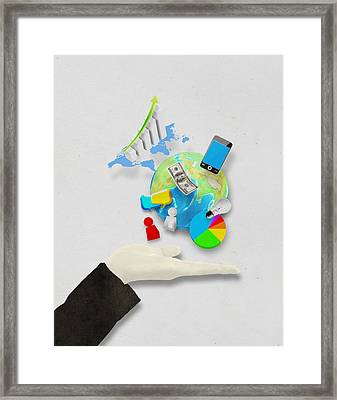 Hand And Globe On Hand Made Paper  Framed Print by Setsiri Silapasuwanchai