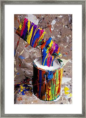 Hand Coming Out Of Paint Bucket Framed Print by Garry Gay