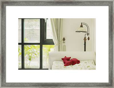 Hand Made Doll On The Pillow Of The Bed Framed Print by Lawren Lu