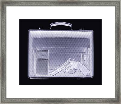 Handgun In Briefcase, Simulated X-ray Framed Print by Mark Sykes