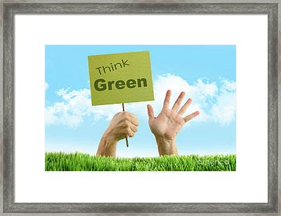 Hands In The Grass On White Framed Print by Sandra Cunningham