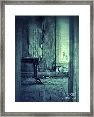 Hands On Window Of Creepy Old House Framed Print by Jill Battaglia
