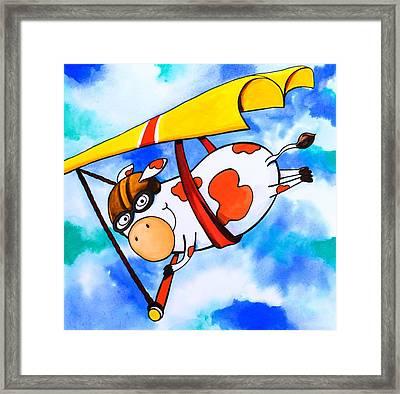 Hang Glider Cow Framed Print by Scott Nelson