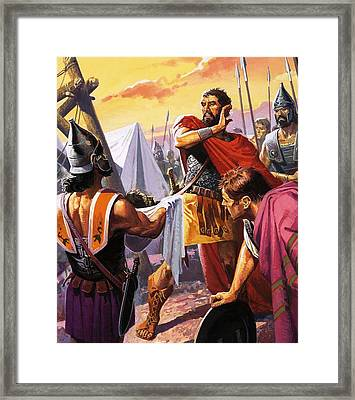 Hannibal Discovers The Grisly Fate Of His Brother Hasdrubal Framed Print by Severino Baraldi