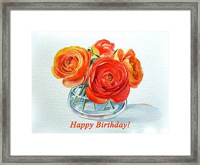 Happy Birthday Card Flowers Framed Print by Irina Sztukowski
