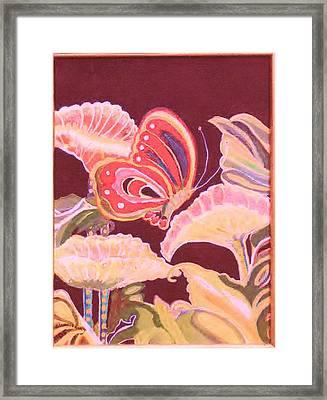 Happy Butterfly Framed Print by Anne-Elizabeth Whiteway