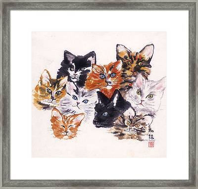 Happy Cats Framed Print by Hilda Vandergriff