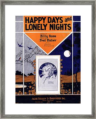 Happy Days And Lonely Nights Framed Print by Mel Thompson