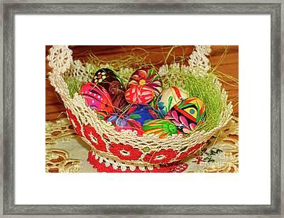 Happy Easter Basket Framed Print by Mariola Bitner