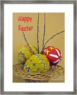 Happy Easter Greeting. Papier-mache Framed Print by Ausra Huntington nee Paulauskaite