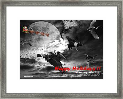 Happy Holidays . Winter Migration . Bw Framed Print by Wingsdomain Art and Photography