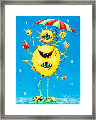 Happy Monster In The Rain Framed Print by Melle Varoy