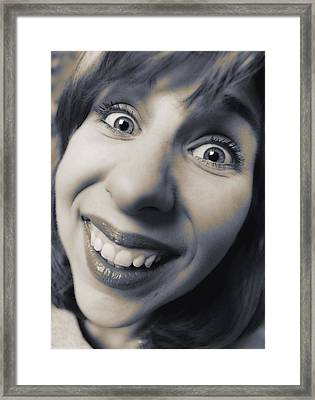 Happy Woman Framed Print by Darwin Wiggett