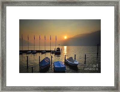 Harbor On A Foggy Lake Framed Print by Mats Silvan