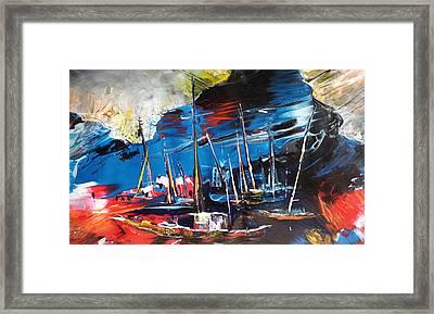 Harbour In Spain Framed Print by Miki De Goodaboom