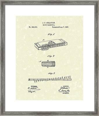 Harmonica Stratton 1887 Patent Framed Print by Prior Art Design