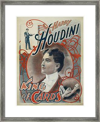 Harry Houdini King Of Cards Framed Print by Unknown