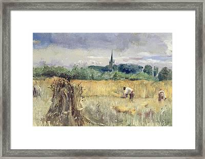 Harvest Field At Stratford Upon Avon Framed Print by John William Inchbold
