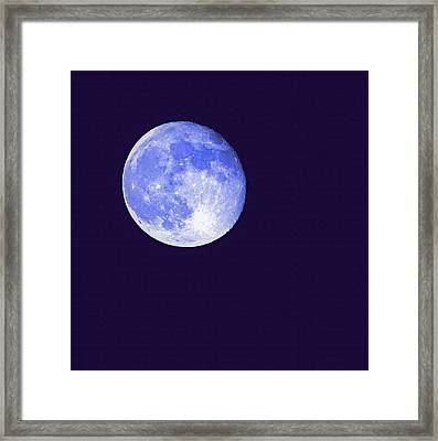 Harvest Moon - Blue Moon Framed Print by Steve Ohlsen
