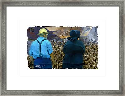 Harvesting The Corn Framed Print by Bob Salo