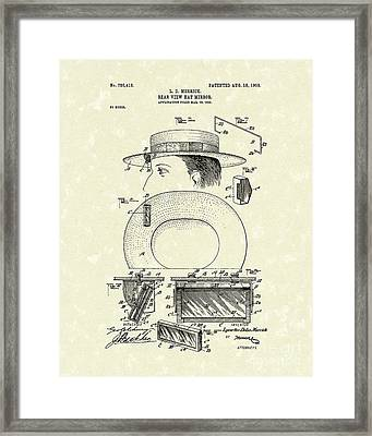 Hat Mirror 1903 Patent Art Framed Print by Prior Art Design