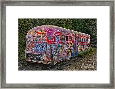 Haunted Graffiti Bus II Framed Print by Susan Candelario