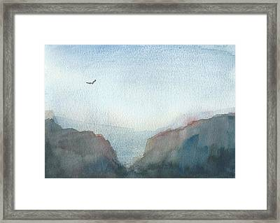 Hawk Above The Red Cliffs Framed Print by Alan Daysh