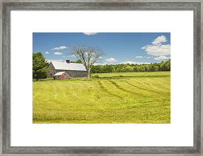 Hay Being Harvested Near Barn In Maine Framed Print by Keith Webber Jr