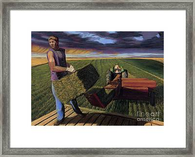 Hay Boys Framed Print by Christian Vandehaar