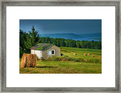 Hayfield And Lake II Framed Print by Steven Ainsworth